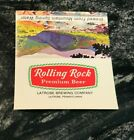 B) VINTAGE ROLLING ROCK BEER TABLE TENT TOP ADVERTISING SIGN LATROBE PA