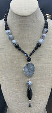 Barse Midnight Sparkle Necklace- Mixed Stones/Druzy Quartz- Sterling Silver- NWT