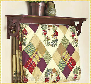 Quilt Throw Blanket Towel Holder Shelf Storage Display Rack Wall Mount ~ BROWN