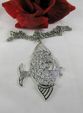 Vintage Articulated Rhinestone Fish Necklace Cat Rescue