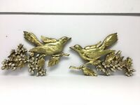 1960s Vintage Syroco Wall Plaque Set — Dogwood Flowers Gold Birds on Branches