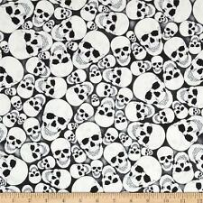 Timeless Treasures Glow in the Dark Skulls Cotton Quilting Fabric 1/2 metre