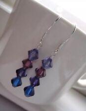 Purple Ombre Tanzanite Swarovski Crystal Beaded Sterling Silver Earrings