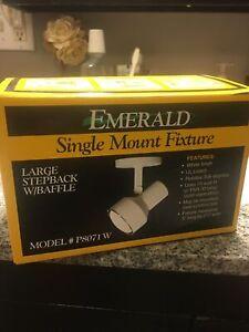 NEW IN BOX Emerald Lighting P8071W White Single Mount Large Stepback w/ Baffle
