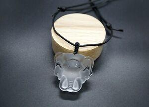 Genuine Clear Quartz Elephant Head Pendant in Adjustable Black Leather Healing