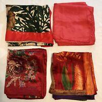 4 Scarves ALL 100% Silk Oblong Red Adrienne Vittadini Lauren Ellis Vtg Scarf Lot