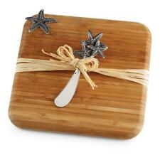 Mud Pie Natural Beauties Collection Starfish Bamboo Square Cutting Board Set