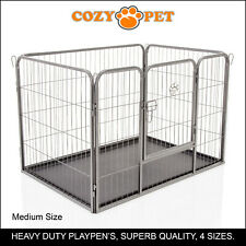 Heavy Duty Cozy Pet Puppy Playpen Run Crate Pen 70cm High Dog Cage - ABS Floor