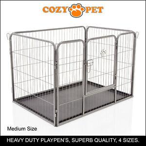 Heavy Duty Cozy Pet Puppy Playpen Run Crate Pen 70cm High Dog Cage - ABS Floor