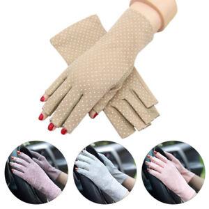 Womens Ultra-Thin Gloves Half Finger Anti UV Protection Summer Driving Gloves