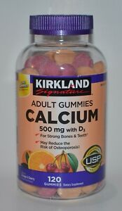 120 KIRKLAND SIGNATURE CALCIUM ADULT GUMMIES 500MG VITAMIN D3 FRUITY SUPPLEMENT