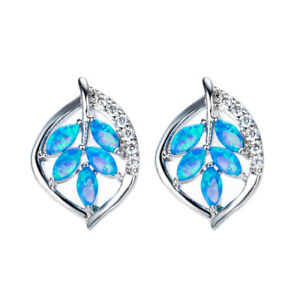 Women Ladies Fashion Blue simulated Opal Silver Filled Heart Ear Stud Gift