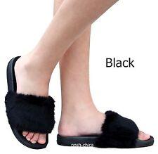 New Women Fzy Black White Wine Fuzzy Faux Fur Open Toe Sandals Slippers 5 to 10