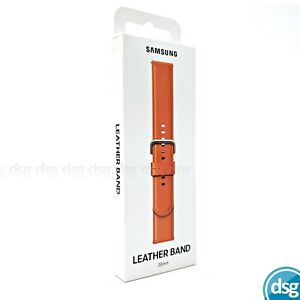 Official Samsung Galaxy Watch Active 2 Leather Band Strap (Fits 20mm) - Orange