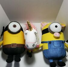 Minions Plush Lot- 2 Large Minions and 1 Unicorn, All are in Good Condition