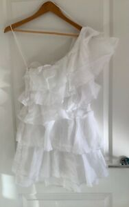 Joslin ruffle layered one shoulder mini white linen Dress, Size 6 new