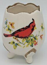 Cardinal & Flowers Egg Planter Toothpick Holder Decor