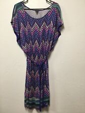 Womens Dress Size Medium Blue Multicolored Rayon Geometric Pattern Rafaella 189