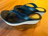 "Flip Flop Shoes womens Size 8 Carla Berotti Women's Black 2"" Wedge Thong Beach"