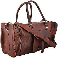 Vintage leather messenger brown goat hide luggage travel bag genuine briefcase17