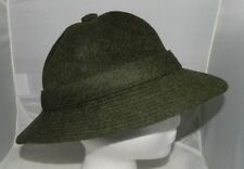 Vintage Authentic BURBERRY'S Olive Green 100% Wool Bucket Hat Super Rare 21.25""