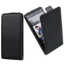 Black Leather Mobile Phone Flip Case Cover For HTC Model