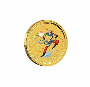 2016 $5 1/20 oz Gold Colorized Australian Lunar Monkey King .9999 BU in Capsule