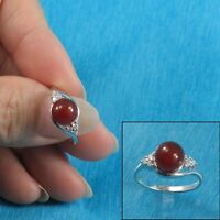 8mm Carnelian w/ C.Z. Solitaires with Accents Ring Solid Sterling Silver 925 TPJ