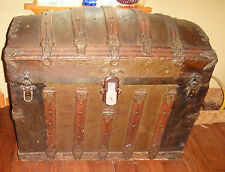 1890's Antique Dome Top Trunk Chest Alligator Pressed Steel & wood treasure