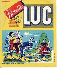 BUVARD PUBLICITAIRE / BISCOTTES LUC / CHATEAUROUX / LE MEUNIER SON FILS ET L'ANE