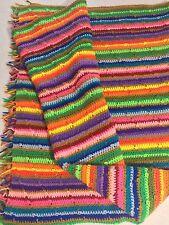 "Vintage Handmade Rainbow Striped Afghan 46"" x 66"""