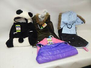 Lot 5 Top Paw Girl Dog Hooded Coat Puffer Panda Hat Fleece Reflective LED NWT L