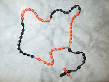 Knotted cord rosary black & orange