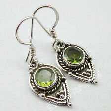 """925 Solid Silver Natural CUT PERIDOT Vintage Ethnic Earrings Jewelry 1.3"""" NEW"""