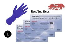 "12"" High Risk Powder Free Nitrile Exam Gloves - 150pcs; 8 Mil, Chemo Tested  L"