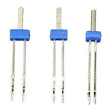 3 x Pines agujas gemelas doble Maquina de coser 2.0/90,3.0/90,4.0/90 (Azul) P4P1