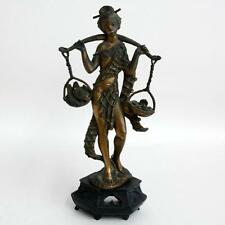 Vintage bronze color resin LADY WITH FISH figurine statuette on black... Lot 64F