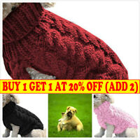 Winter Knitted Puppy Dog Jumper Sweater Pet Clothes For Small Dog Cat Coat S-XL~