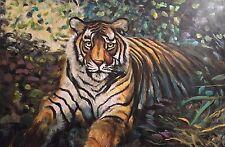 "RARE David Aldus olio originale ""Regal TIGRE"" BIG gatto dipinto ad olio"