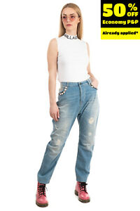 RRP€190 MY TWIN TWINSET Jeans Size 28 Stretch Ripped Faded Cropped Made in Italy