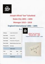JOE SCHOFIELD STOKE CITY 1891-1899 EXTREMELY RARE ORIGINAL HAND SIGNED CUTTING