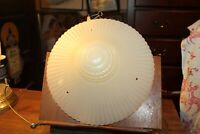 """Vintage Art Deco Glass Shade for Ceiling Fixture 12"""" Custard Opaline Pressed"""