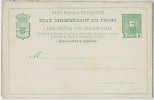 Palm trees - CONGO -  POSTAL STATIONERY CARD - H & G # 14 - DOUBLE CARD