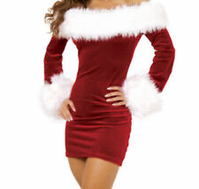 Womens Christmas Sexy Santa Claus Fur Boat Neck Costume Xmas Outfit Fancy Dress