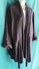 COLDWATER CREEK Purple Open Cardigan Sweater Long Asymmetric XL Tab Long Sleeve