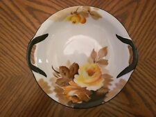 TRICO Nagoya-Japan Hand Painted China Yellow Roses Bowl w/Black Handles