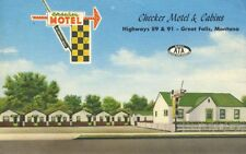 Checker Motel & Cabins Great Falls Montana MT ATA AMHA Vintage Postcard E12