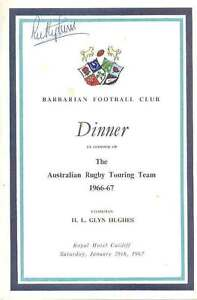 BARBARIANS v AUSTRALIA 28 Jan 1967 SIGNED RUGBY MENU CARD 5 AUTOS JOHN FRANCIS