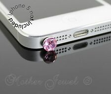 LIGHT PINK ROUND RHINESTONE PHONE IPHONE IPAD IPOD CHARM EARPHONE JACK DUST PLUG
