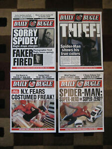 """Spiderman - Daily Bugle 11"""" x 15'' Front Page - Prints [ Set of Four ]"""